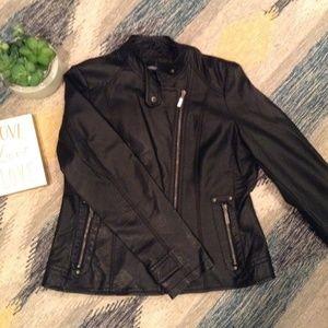 Washable Faux Leather Biker Jacket in Black